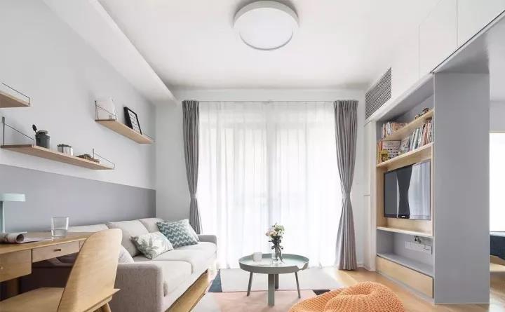 现代混搭风,电视墙旁2扇隐形门,对称处理好漂亮!
