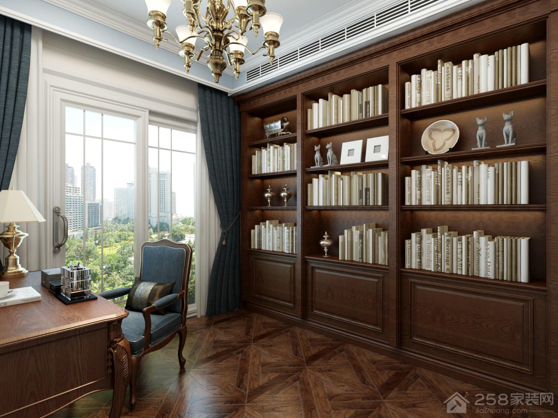 古典法式书房实木整体书柜效果图