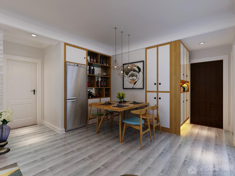现代开放式餐厅实木餐桌图片