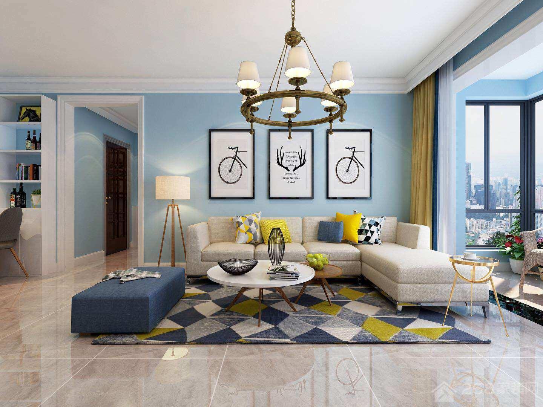 简洁北欧后现代客厅转角沙发效果图