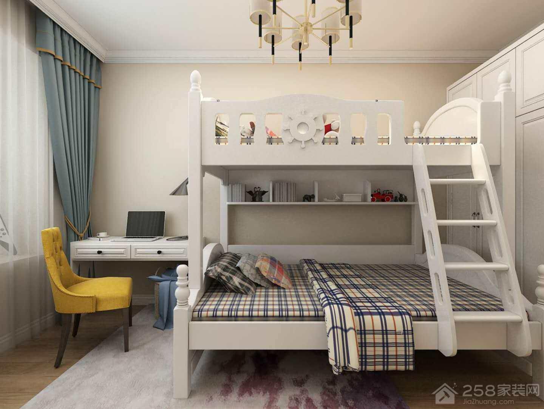 简欧风儿童房高低床装修效果图