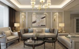 东方名邸89平米三居室简欧风格装修效果图