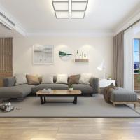 日式客厅灰色布艺转角沙发效果图