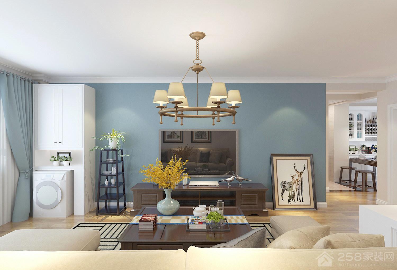 清新美式客厅蓝色电视背景墙图片