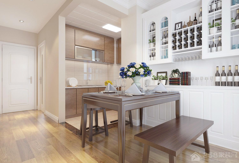 美式风格餐厅白色酒柜图片