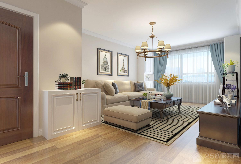 美式风格客厅地毯装饰图片