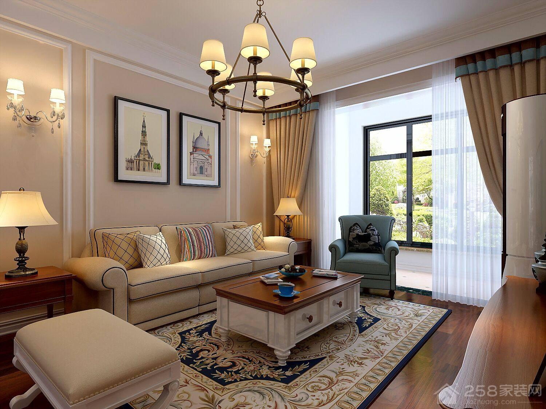美式客厅抽屉式方形茶几效果图