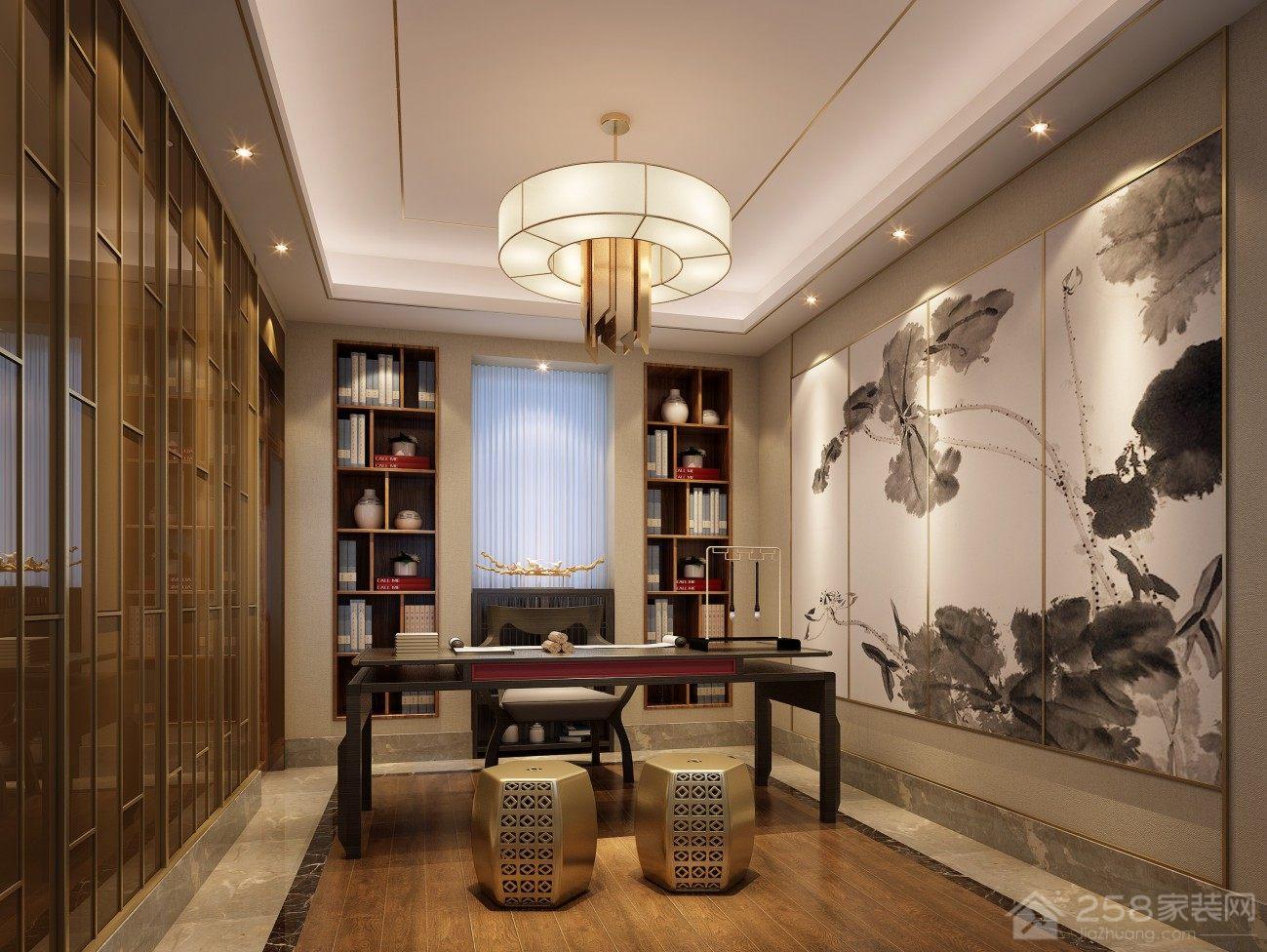 传统新中式书房简易实木书桌图片