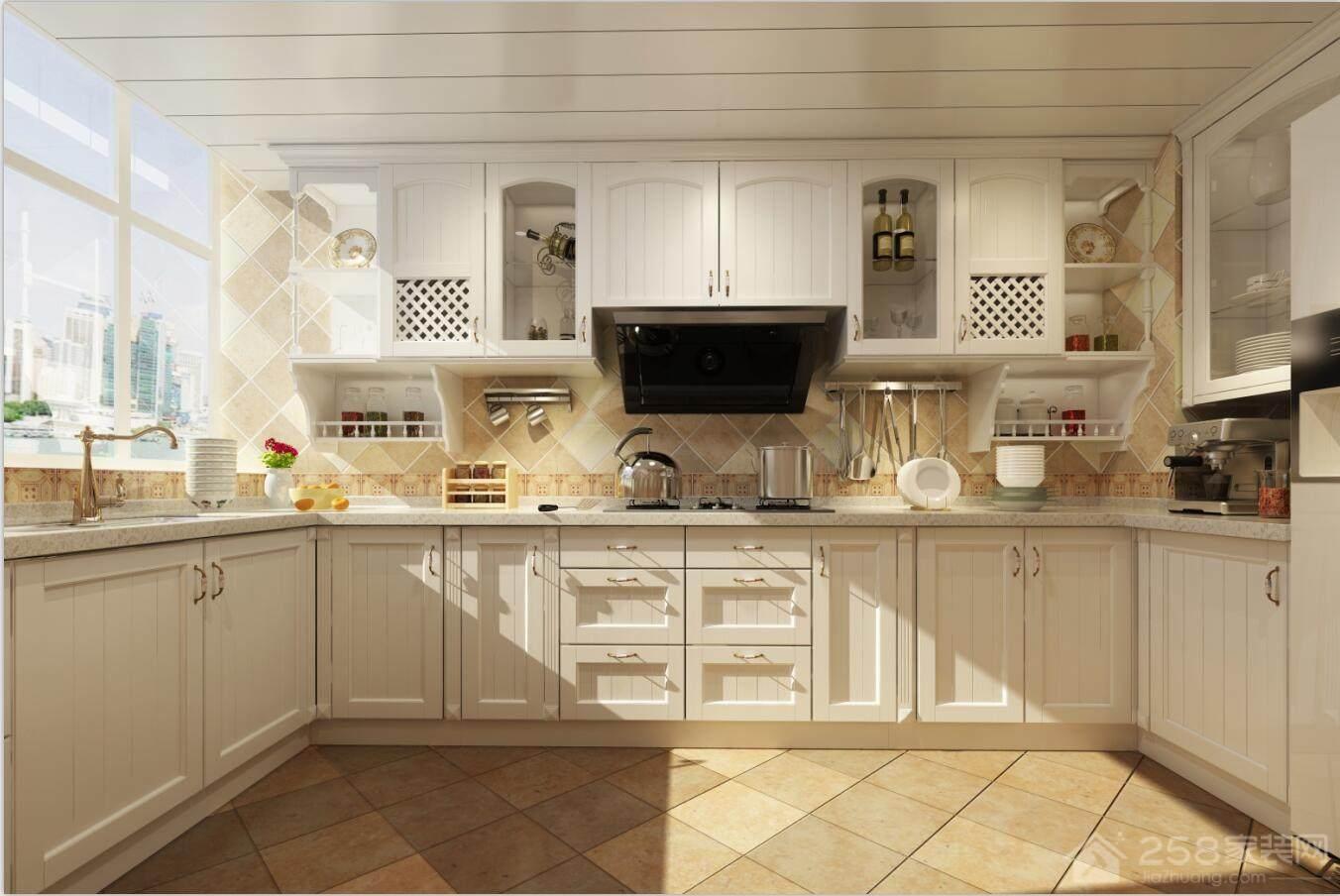 厨房原木白色实木橱柜展示图