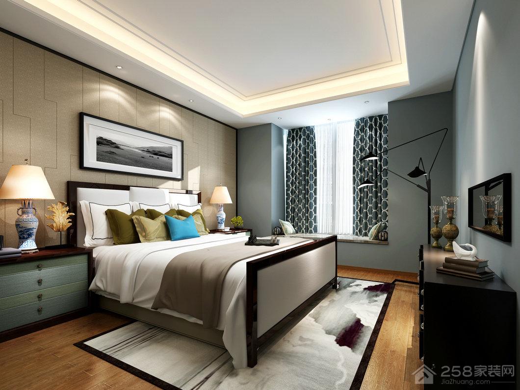 简单舒适卧室双人床效果图