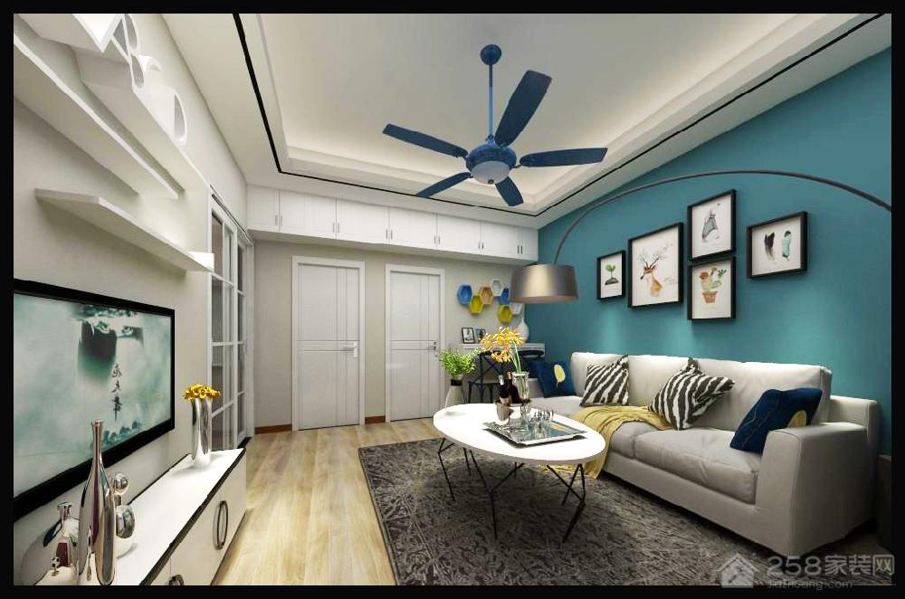 现代客厅蓝色背景墙效果图
