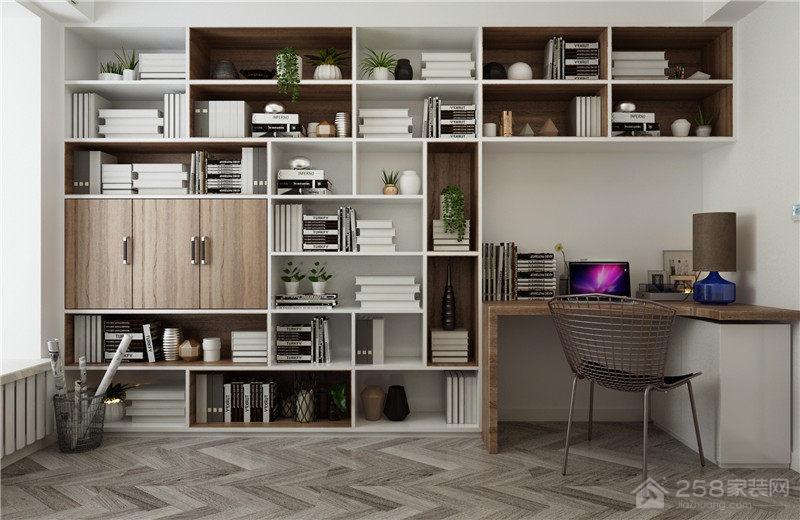 书房定制书桌书柜组合设计效果图