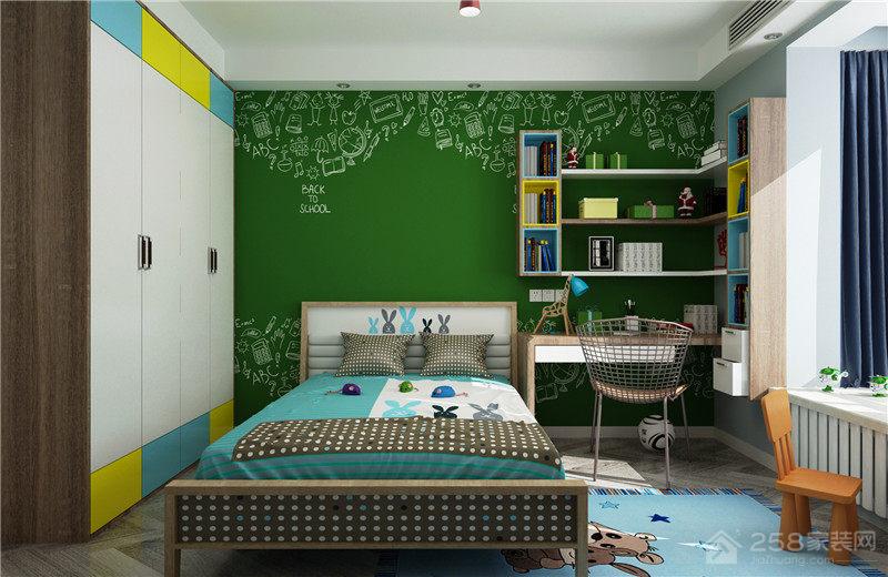 干净整洁绿色儿童房设计效果图