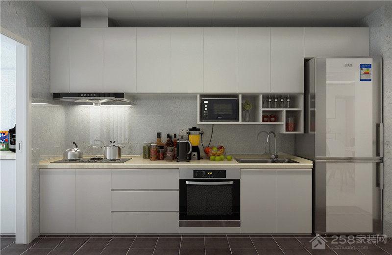 简约白色一字型厨房装修效果图展示