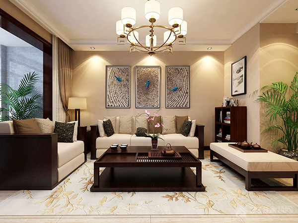 简洁清秀新中式客厅方形茶几图片展示