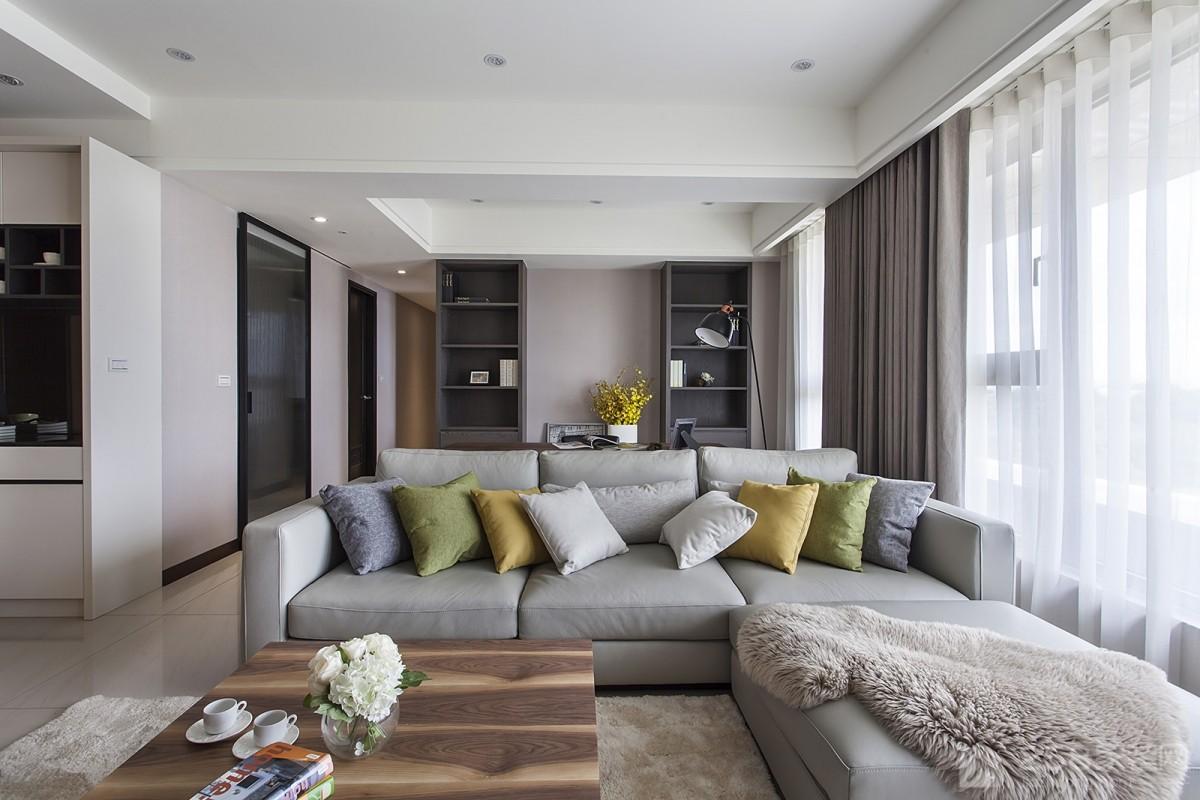 现代时尚客厅布艺沙发组合效果图欣赏