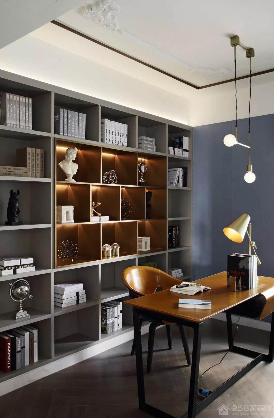 法式中国风书房整体书柜效果图