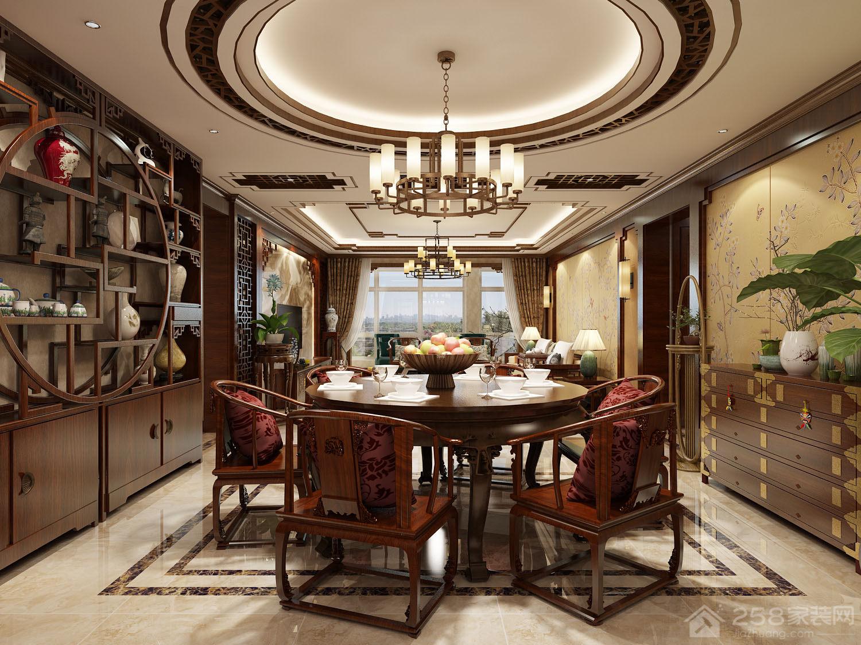 典雅新中式实木圆餐桌图片欣赏
