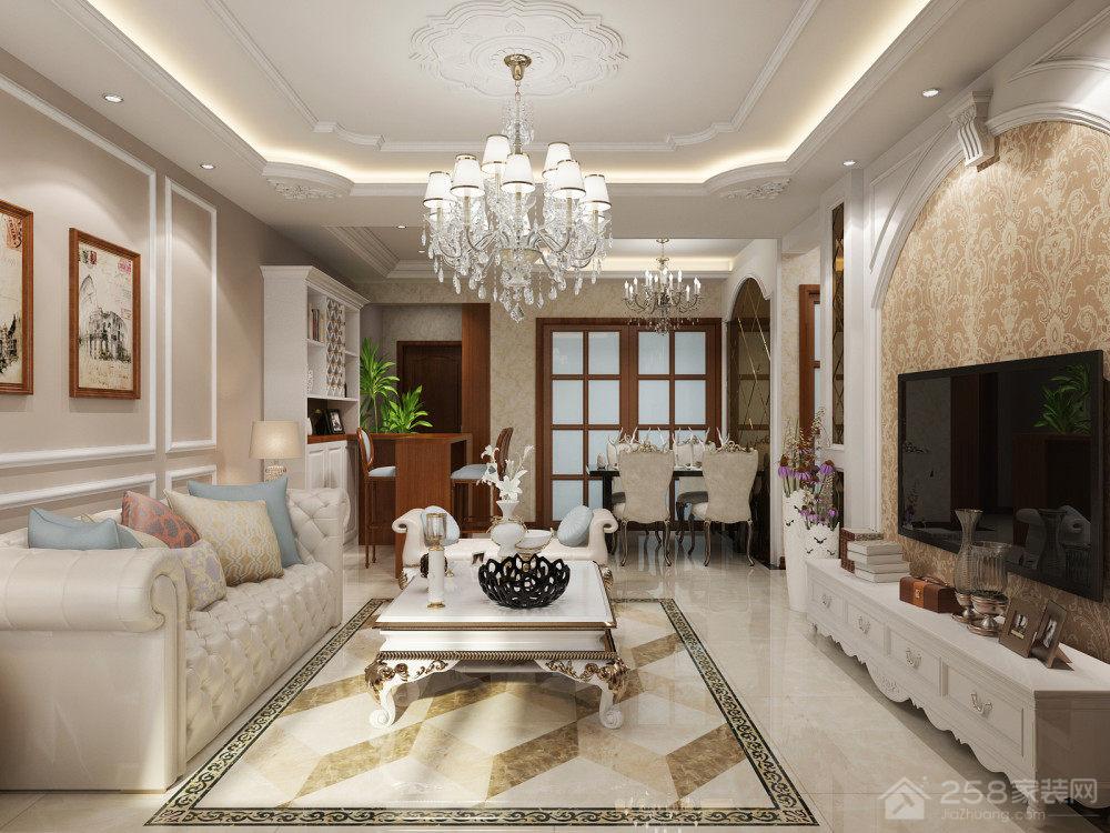 简欧奢华客厅水晶吊灯设计图