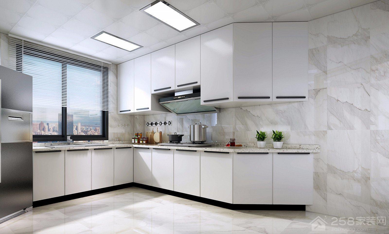 简约北欧风情厨房L型烤漆橱柜设计图