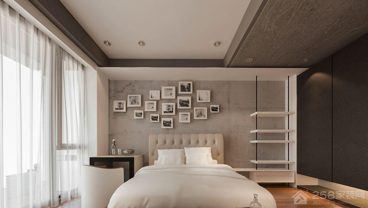 现代中式卧室创意床头背景墙图片