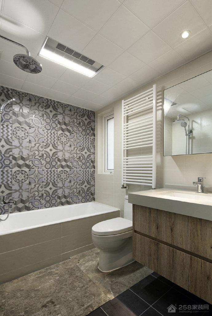 简约卫生间瓷砖背景墙拼花贴图