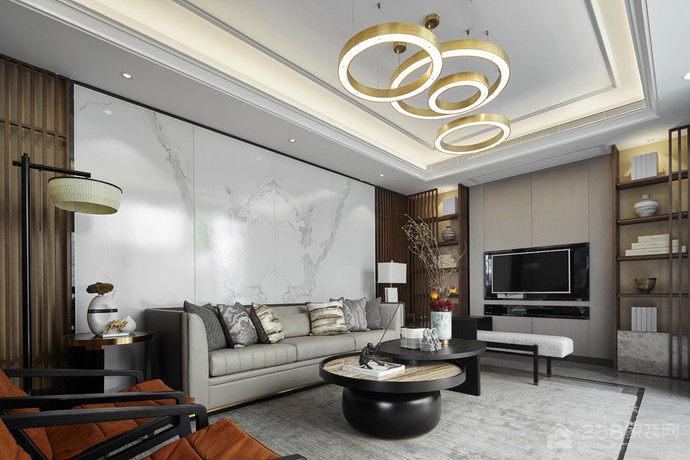混搭风格客厅天花板圆环吊灯图片