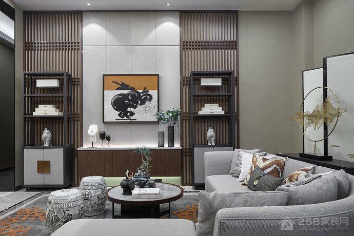 混搭风格客厅实木博古架图片