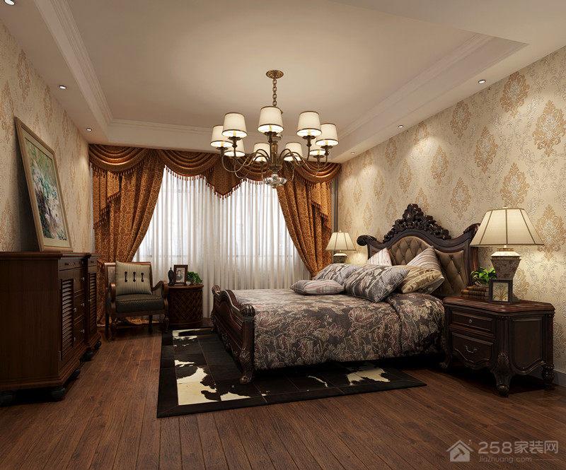 美式风格卧室实木地板图片