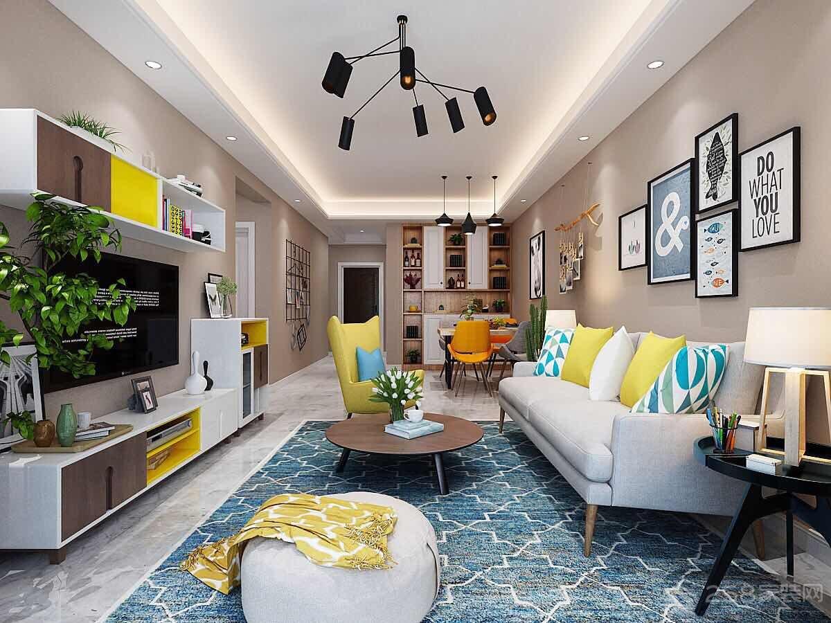 北欧风格客厅墙上置物柜图片