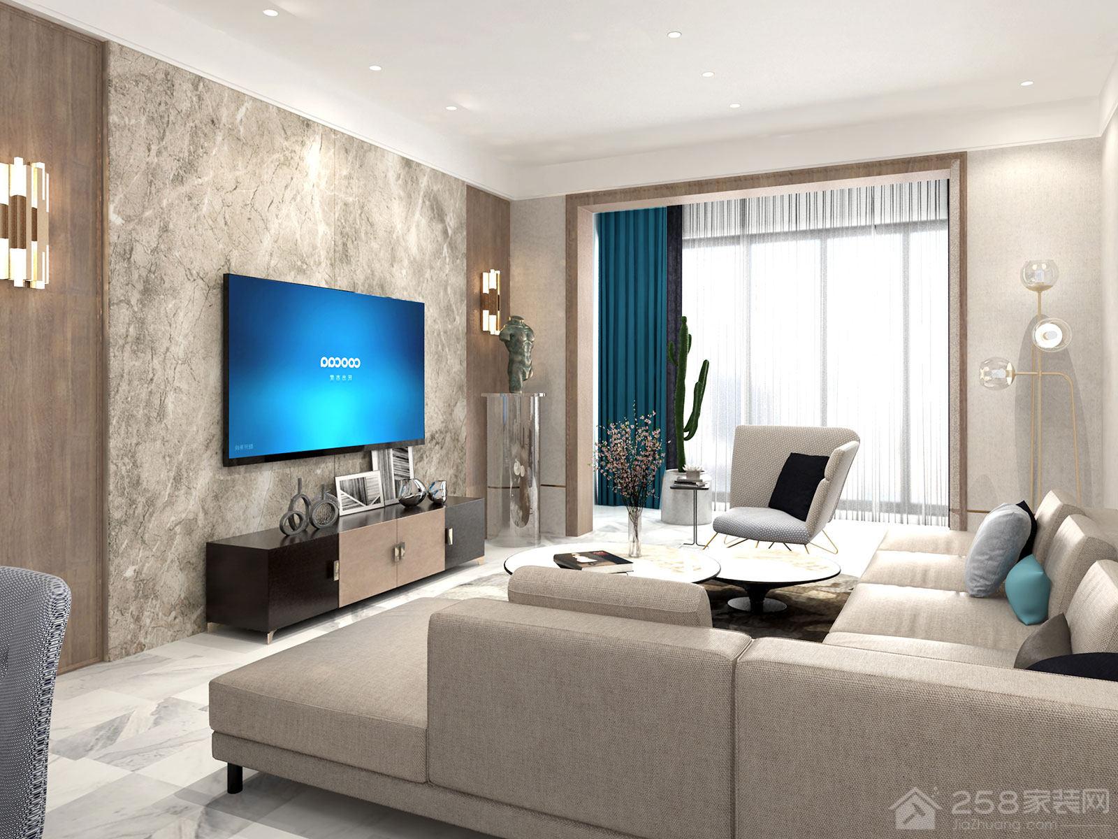 现代简约客厅木质电视背景墙图片