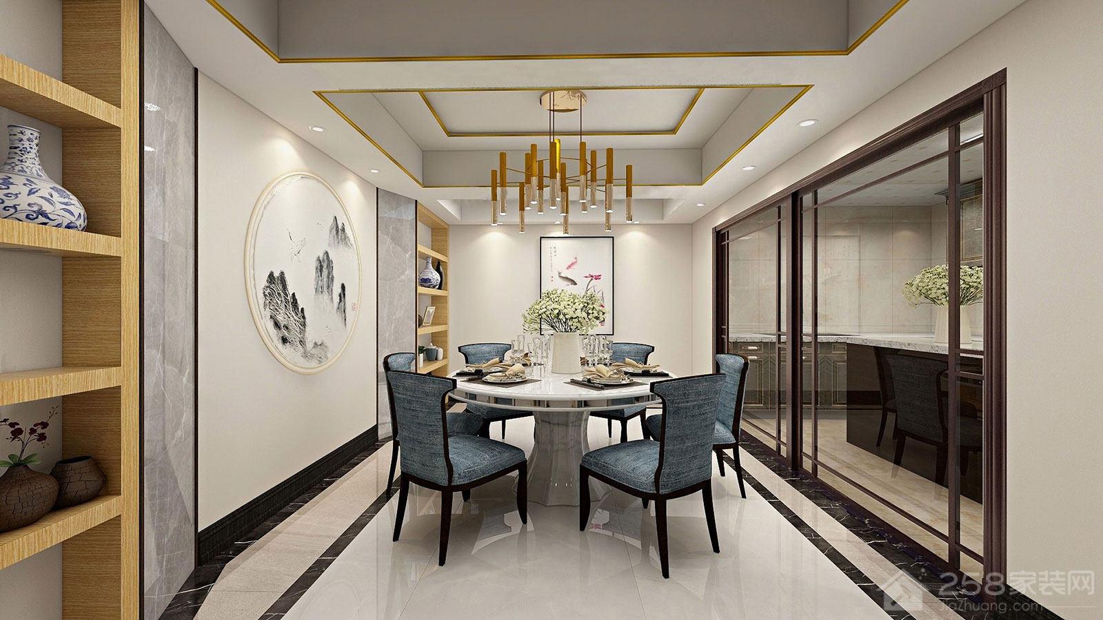 新中式风格餐厅圆形餐桌椅图片