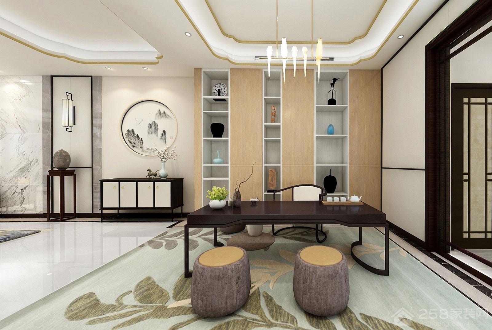新中式设计家庭休闲区效果图