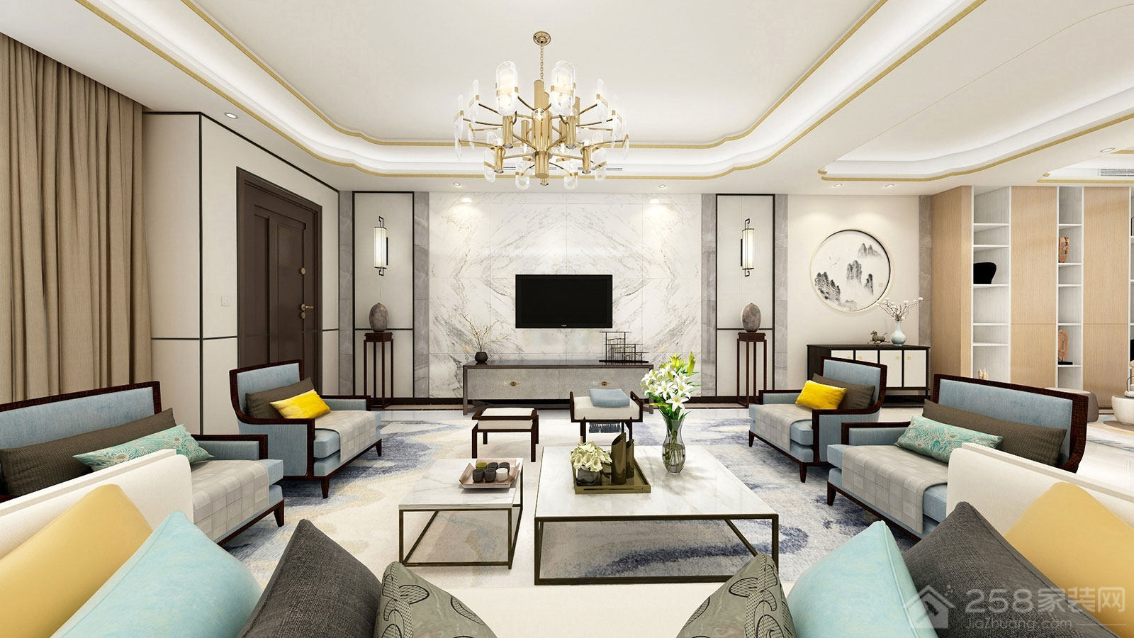 新中式客厅大理石电视背景墙效果图
