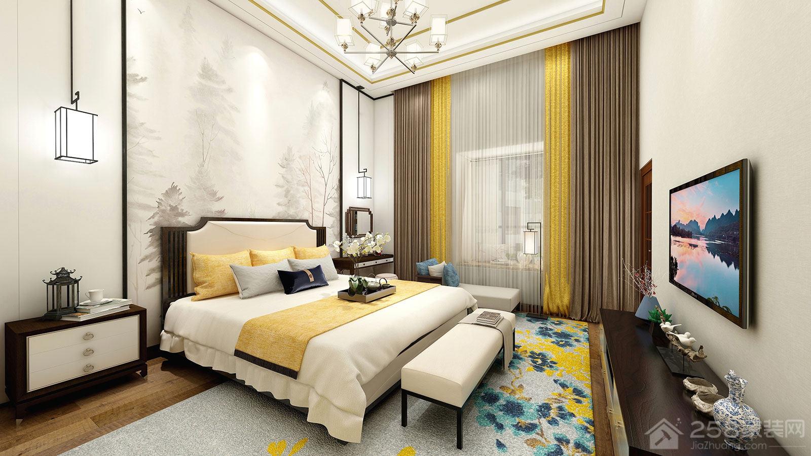 新中式风格卧室背景墙效果图