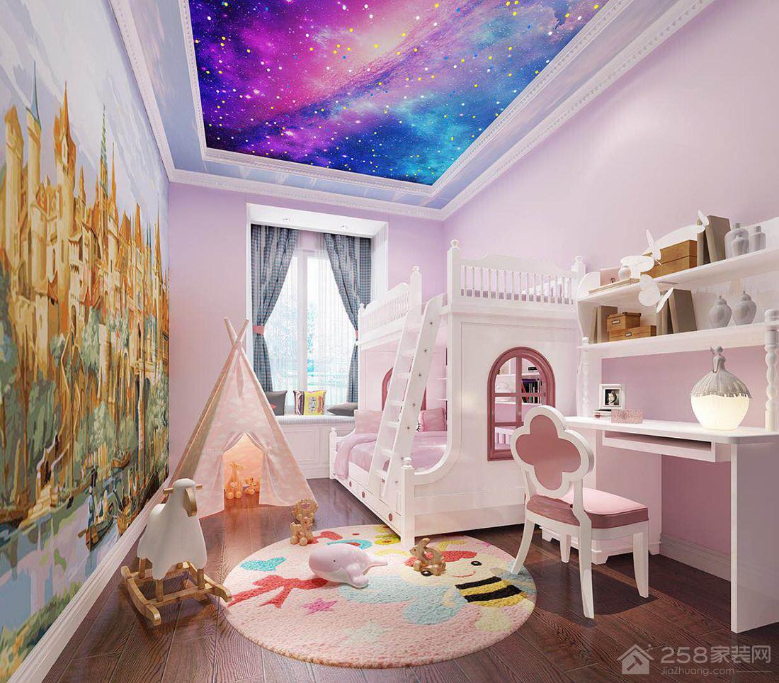 现代风格粉色儿童房设计效果图
