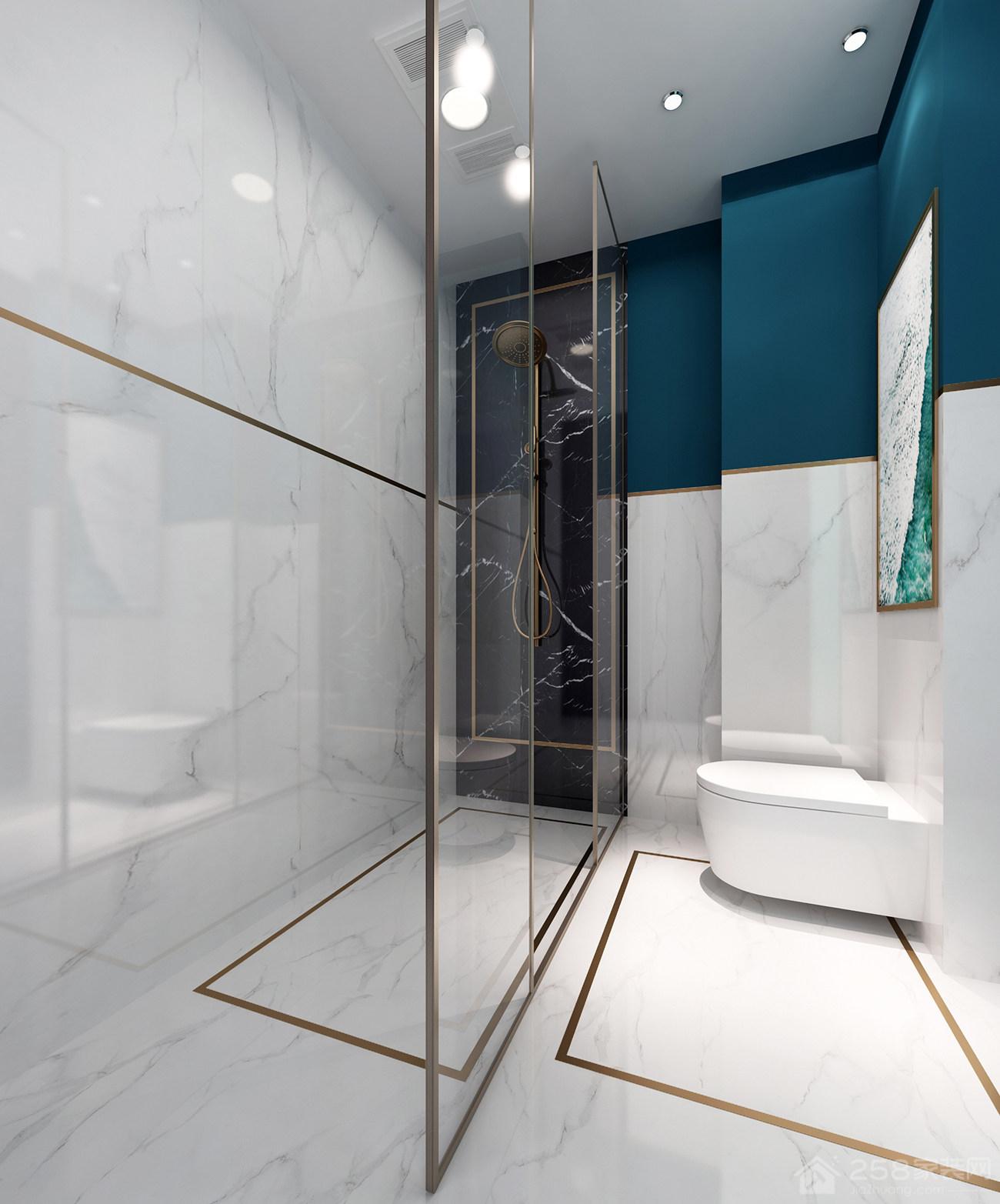 卫生间透明干湿分离淋浴房效果图