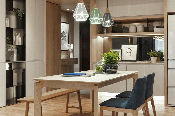北欧风餐厅简洁实木餐桌图片