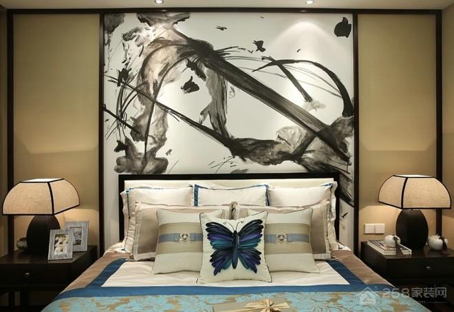 现代中式卧室背景墙水墨画图片