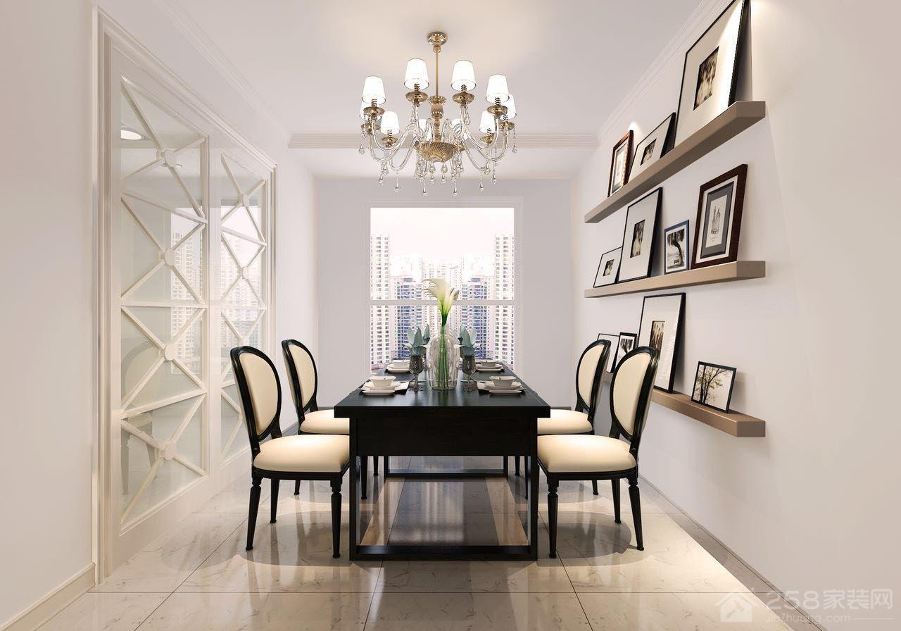 实木简约小户型餐厅四人餐桌椅组合图