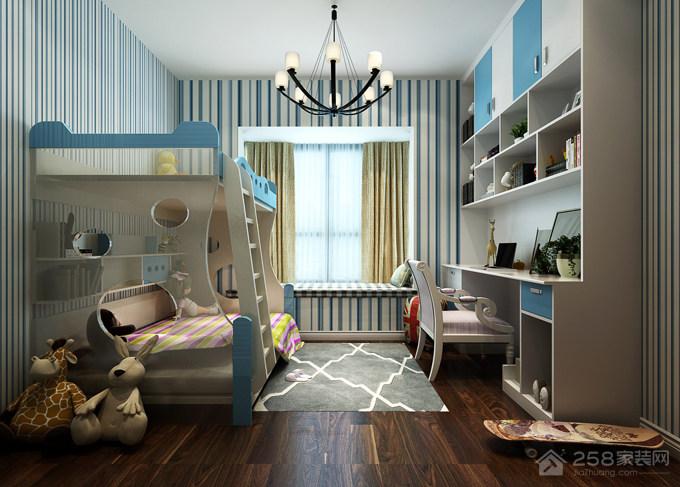 儿童房实用书桌书柜一体组合设计