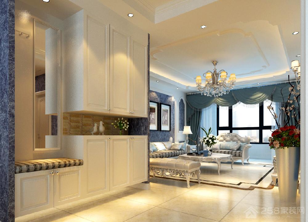 现代欧式白色进门玄关鞋柜设计图
