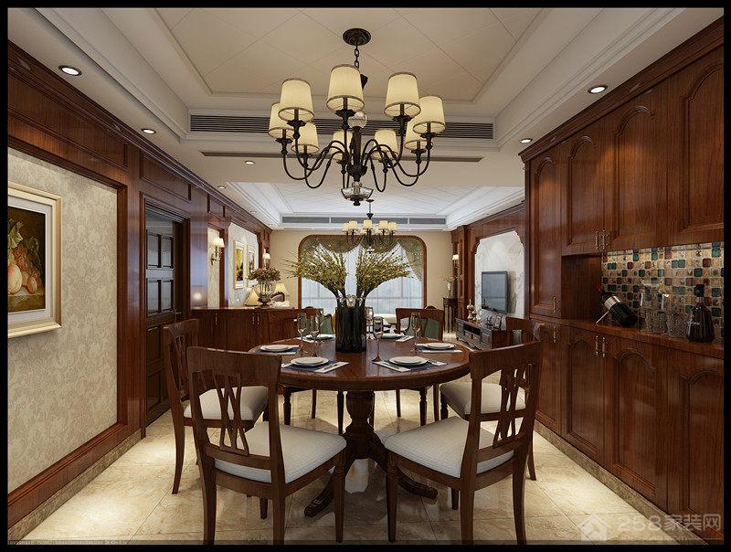 美式风格全实木圆餐桌效果图展示