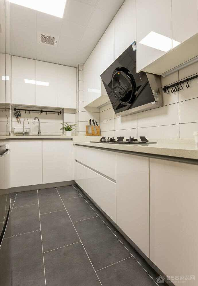 现代厨房白色烤漆橱柜效果图