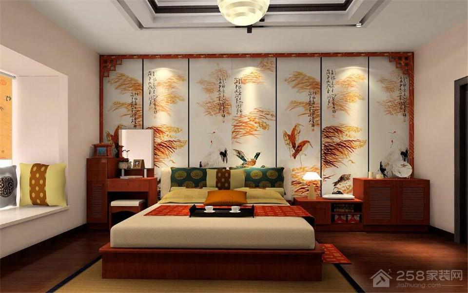 简约卧室全实木中式双人床图片