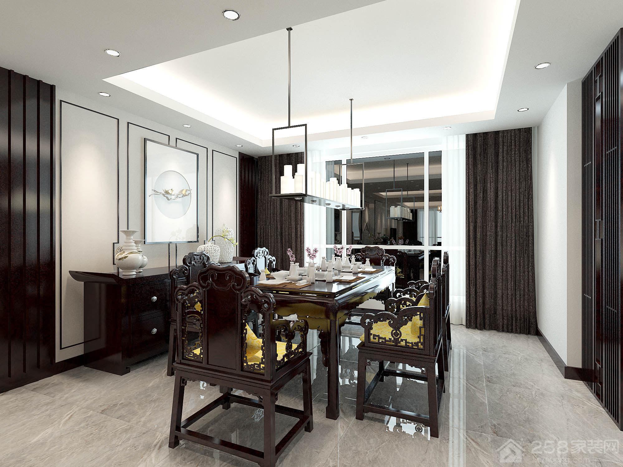 新中式风格餐厅实木餐桌椅图片