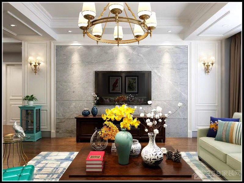 简约美式设计客厅电视墙效果图