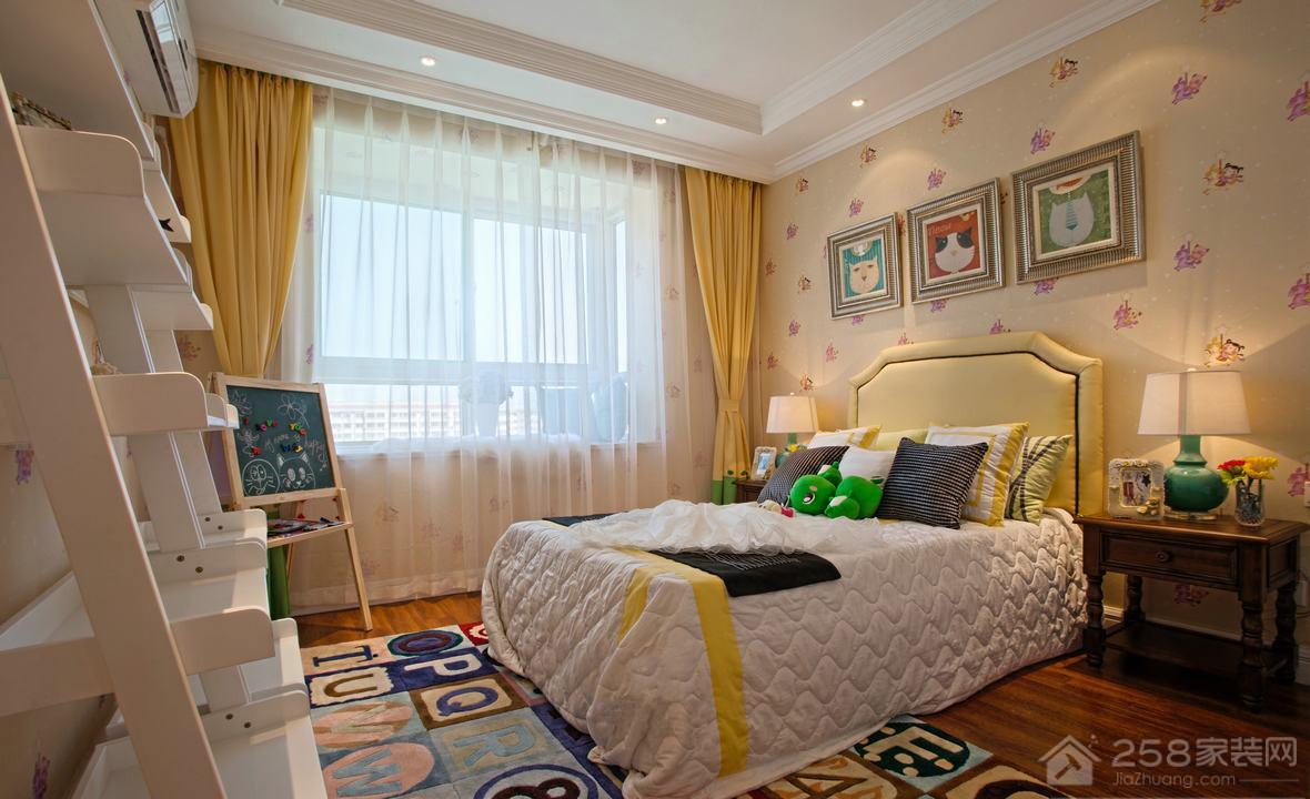 美式风儿童卧室单人床图片