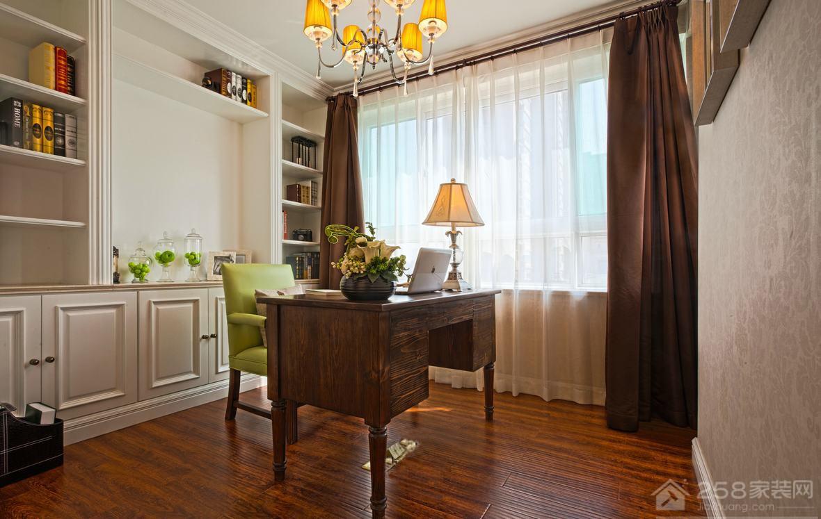 美式风书房复古木书桌图片