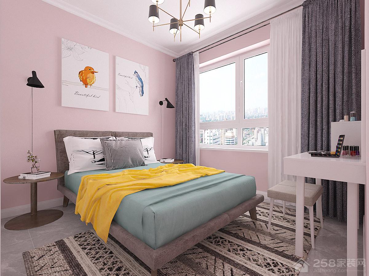 北欧风格粉色调卧室效果图